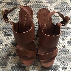 Calvin Klein brown wedges